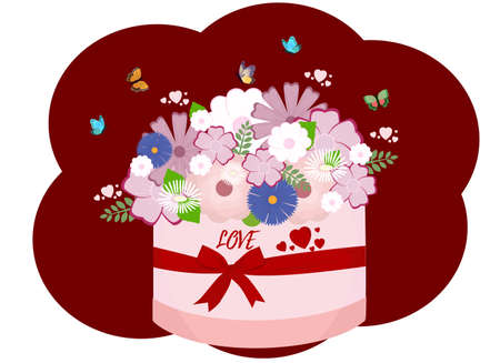 Vector illustration of a bouquet of flowers in a gift box tied with a ribbon. Butterflies are flying around. Many hearts and a declaration of love