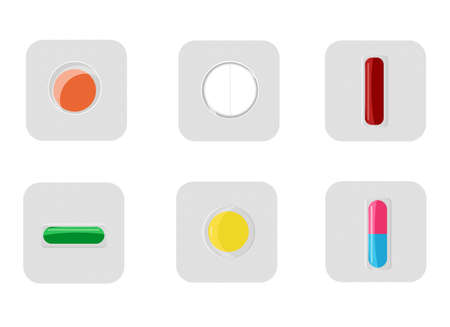 Vector illustration of a set of different pills, packed in blisters, one by one. Dosage. Vetores