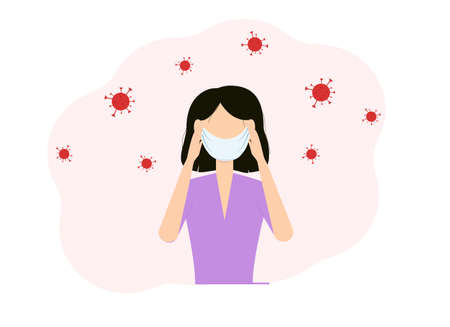 Virus disease concept. Vector illustration of a woman with a mask on her face and hands holding her head Vector Illustration