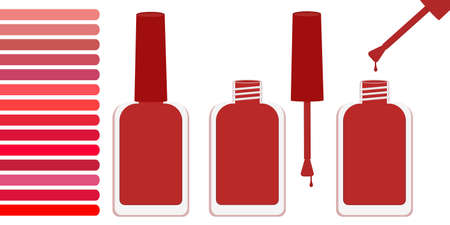 Three bottles with red varnish, open and closed. Nearby is a palette with shades of red. Vector illustration