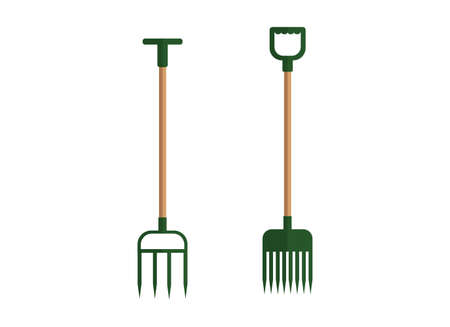 Illustration of a set of pitchforks. Garden cleaning tools