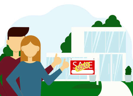 Vector illustration of buying real estate. A couple of man and woman on the background of a large house with a sold billboard. Vetores
