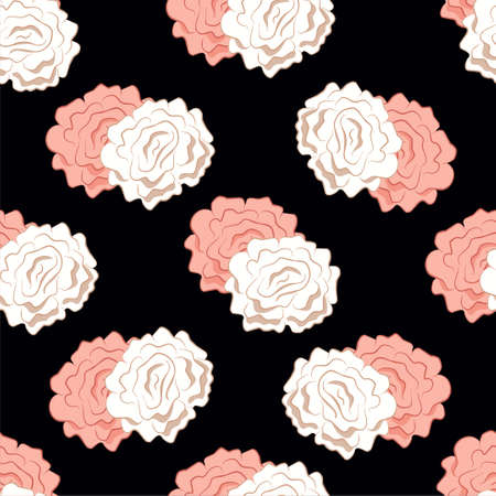 White and pink color rose flowers seamless pattern on black background