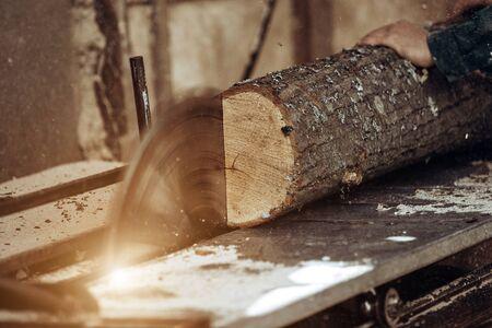 Carpenter cuts wooden board on circular saw. High quality photo
