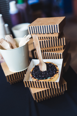 Food photography delicious dessert served in stylish diy food packaging with recycled products