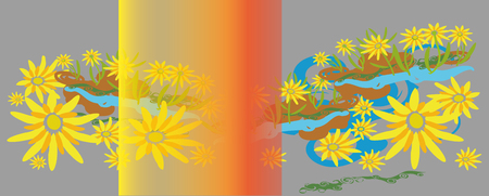 uncultivated:  Design element, in the form of a flower chamomile glade of yellow flowers and imitation grass and water  Vector drawing of a gray rectangle  Front decorated with a transparent rectangle red yellow shading
