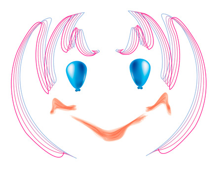 painted face: Joyful, vector, simple, baby painted face with blue eyes of cheerful balloons