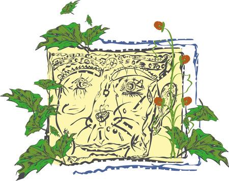 visage peint: fabuleux contours du visage de lutin peintes sont expos�es avec de la peinture noire autour de la feuille verte museau et baie de fraise
