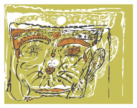 なでる: 図では、パスをなでる、架空の生物の顔にバック グラウンド パターン。  イラスト・ベクター素材