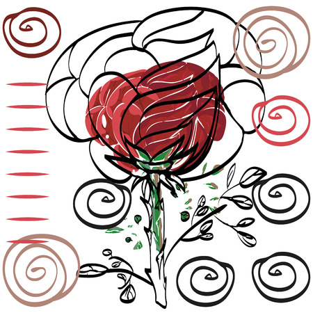 invented: Vector drawing of a red rose with a torn black outline a simple card on a white background.