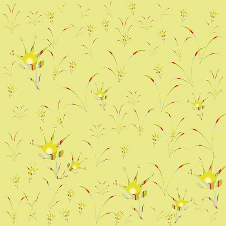 grass blades: Pattern of green yellow flowers unpretentious and blades of grass, a light  yellow background. Illustration