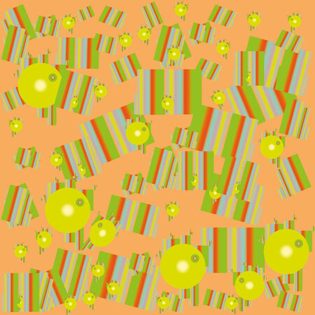 motley: Geometric motley pattern of green-yellow gradient balls and rectangle.Wallpapers. Illustration