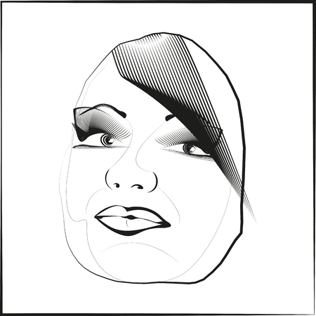Only one person female perception, looks on the picture. Illustrative Vector white background. Vector