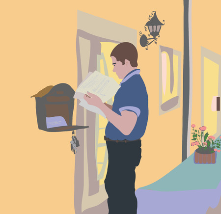 Flat design, the man received a letter in the mail. People person standing near a privat house and mailbox and reads the letter.