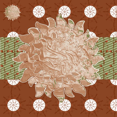 Autumn Patterns Indian natural earthy colors, paint background in vector field, sun flowers, strawberry fruit. photo