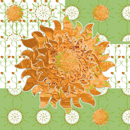 idealistic: Idealistic collage vector picture with the sun grass strawberries fabric patterns. Stock Photo