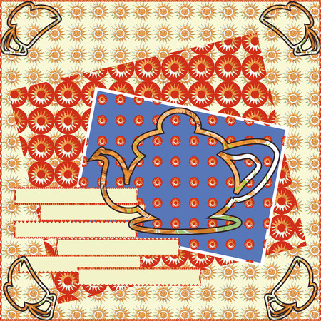square sheet: Layout patterned square sheet of painted paper-like elements of jewelry design with a pot in the middle and at the edges of cards teacups, there is room for text. Illustration