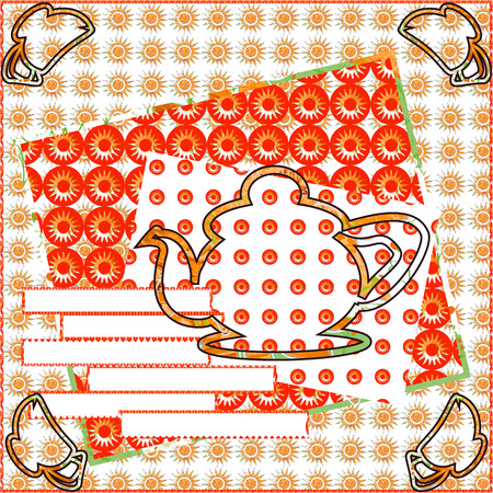 comfort: Beautiful card invitation for afternoon tea.Home comfort, kind, attracting atmosphere in warm tones of red patterned background with space for text.