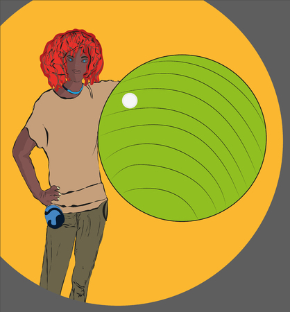 Young modern metrosexual boy, standing with a huge sports ball in his hands. Vector bright. Vector