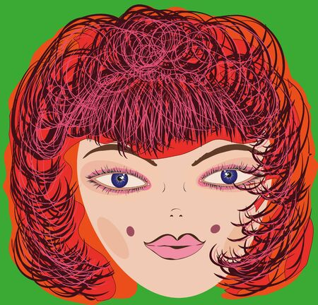 red hair: Drawn vector female head bright red hair on a green background.