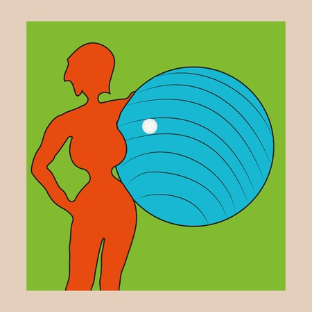 Orange silhouette of woman with big blue ball in his hands on a green background.