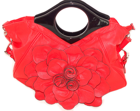 imitation leather: Womens handbags red with large flower front, kitsch style, sick floral design on a white background