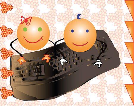 face book: Dos ni�a sonriente y ni�o jugando en el teclado de un ordenador juntos. Dibujo vectorial de dos personajes. Vectores