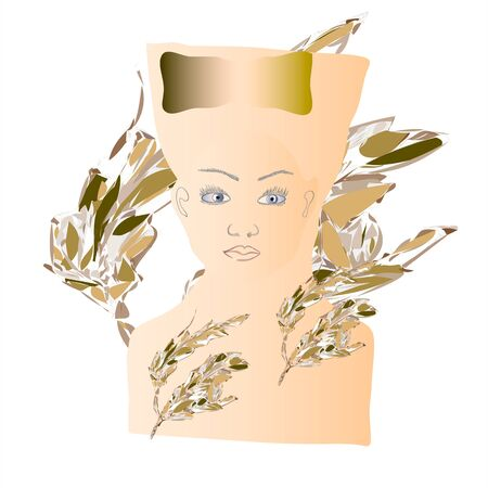 frontal: frontal female face painted silhouette surrounded by foliage Illustration