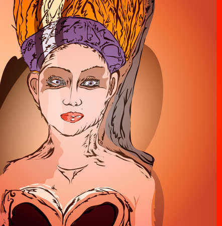 fullface: Lady with a headdress, painted face in full-face portrait on the shoulders Illustration