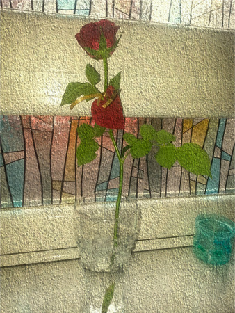 window sill: On the window sill stained red rose in a glass with gold ribbon and cards in the form of heart