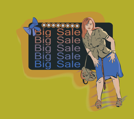 woman middle age: Middle-aged woman dressed in a skirt and with a backpack in hand is against the background of the announcement big sale, vector illustration