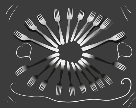 signboard form: Drawn  fork for eating form oval on a dark gray background line pattern signboard