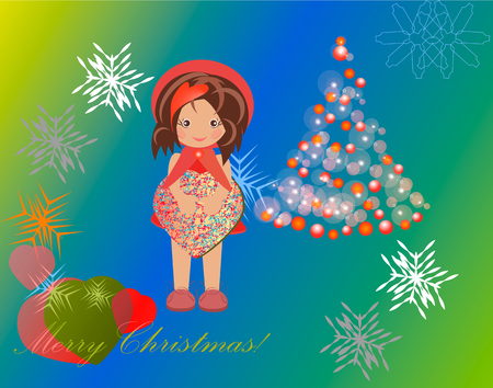 christmas motive: The picture with the motive Christmas girl with gift box in hands near the green decked Christmas tree on the background of snowflakes Illustration