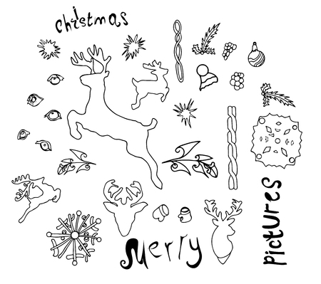 Various native Christmas vectorial lines of deer, objects of fairy-tale plants and ornaments