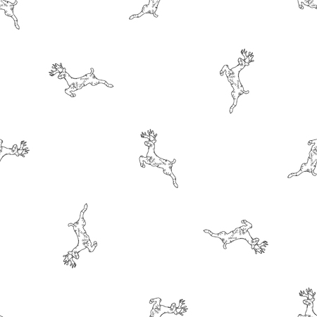 Running New Year s deer Santa Claus is a linear simple seamless pattern