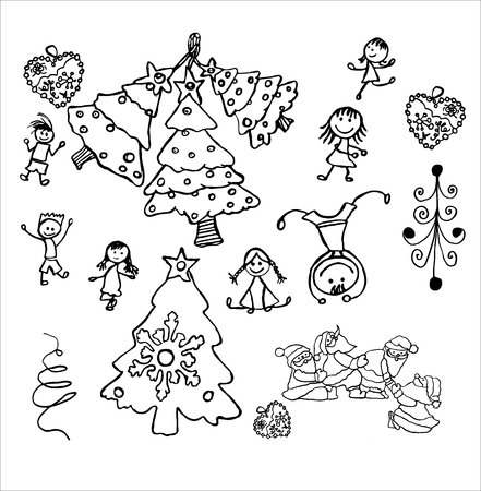 Childrens drawing doodle four spruce and many battering children a few Santa Clauses all play a working trace leaf