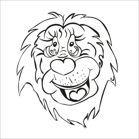 Lion good animals cartoon characters childrens coloring application rendering