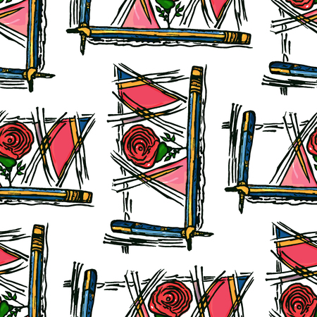 pupil simple seamless pattern of carandoshi simple thick rose flower geometric shapes pink color graphite triangles lines black Ilustrace