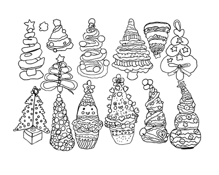 Stylized hand-drawn Christmas tree for Christmas and New Year holidays