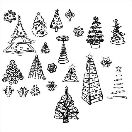 New Year hand-drawn pictures of fir-tree snowflakes decorations tracing lines vector graphics ISOLATED ON WHITE BACKGROUND