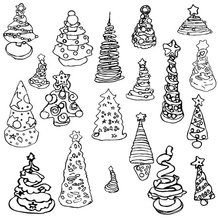 beautiful new year pictures of diverse Christmas trees style doodles by hand drawn lines black and white isolated
