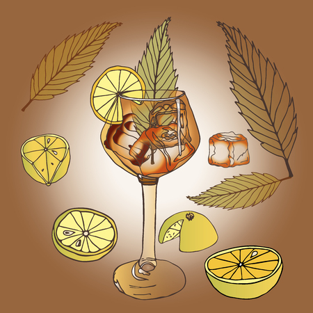 Alcohol cocktail with slices of differently sliced lemon, transparent pieces of ice drink leaf green