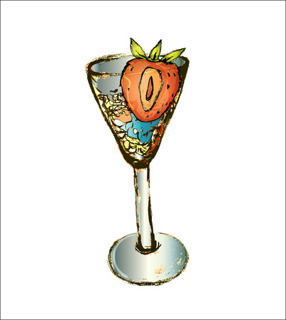 one glass with mixed alcoholic evening cocktail with half a strawberry in ice drawn in vector, lines by hand