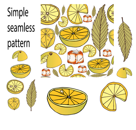 freshness of fruit cut slices of lemon and green leaf with a piece of ice in seamless pattern in vector picture