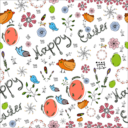Vector drawing of Easter variations of patterns, clipart, birds, flowers and different lines. Seamless background with greeting lettering, happy easter. With white color lining on the background.