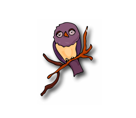 Owl bird in vector drawn, sits on a piece of a tree branch, holds its paws and the half asleep and purple sad on a white background is an isolated one. Illustration