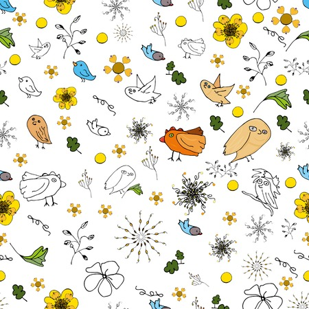 Seamless doodle background with a spring motif, different types of unpretentious twigs birds and a lot of vector flowers.