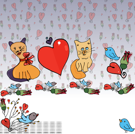 Cats in love with a heart, around pink buds, blue birds and twigs from a bush against the background of a simple seamless pattern with red hearts and roses.