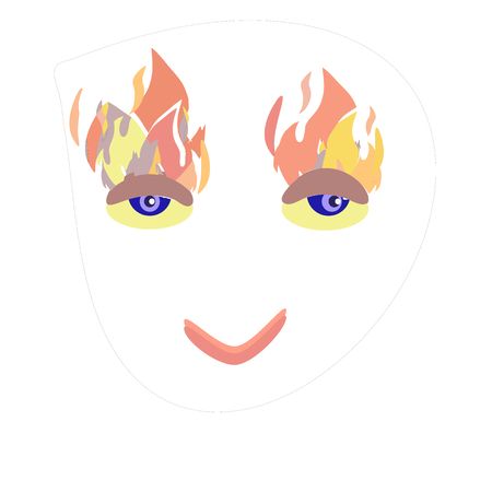 Eyes burn shaped vector facial expression in a simplified style.