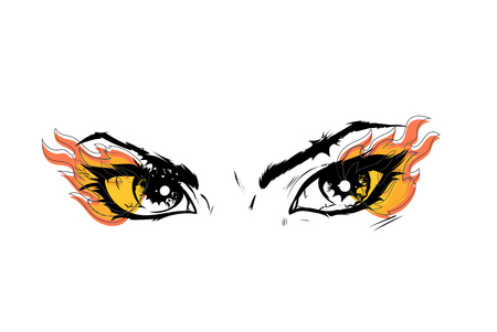 Eyes of a human look of a female image drawn in a vector. Black contour lines and warm colored fire along the edges of the outlines.